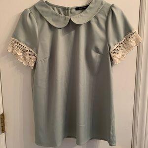 Modcloth Doe & Rae Mint Blouse Crocheted Sleeves M